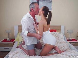 Brunette babe Katy Rose rides an older mans cock and gets cum