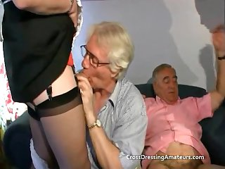 Teen with 2 old men and a matured crossdresser