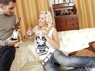 Blonde Russian old bag Evelina rides a hard dick receipt a night out