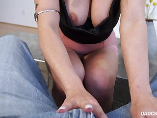 Redhead chick around pigtails and big round bowels Skylar Snow deepthroats big cock