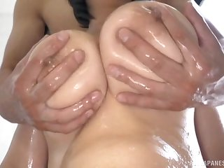 Oiled up Tsukada Shiori makes him wanna explode with her tits