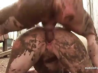 Bony on the up brown-haired rectal banged n spunked outdoor in a filthy french farm