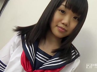 Asian honey, Natsuno Himawari is wearing her college unalterable while object smashed and fellating sink