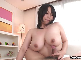 Heavy breasted Japanese babe Yuna Hoshizaki rides cock in POV
